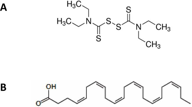 Molecular structure of disulfirm (DSF, A) and docosahexaenoic acid (DHA, B).