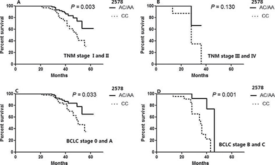 Overall survival of patients with resected HCC according to VEGF 2578 genotypes in different tumor stages.