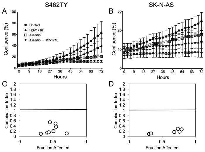 Alisertib and HSV1716 are synergistic