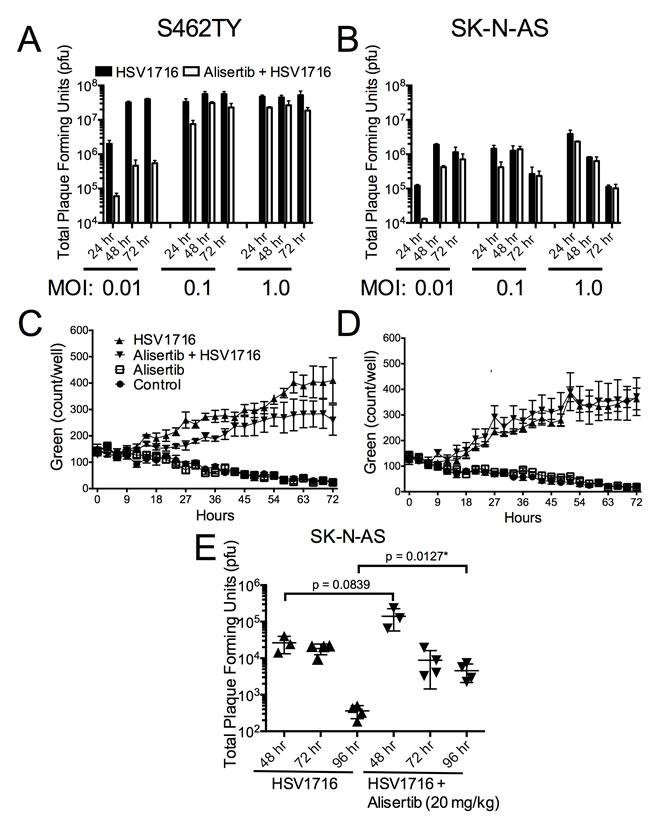 Alisertib decreases virus replication