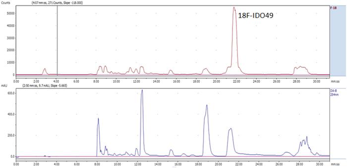 Representative chromatogram from the semi-preparative HPLC separation of the [18F]IDO49 product.