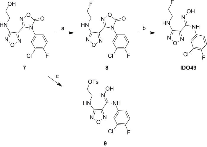 Scheme 1: Synthesis of the reference compound IDO49 and precursor 9.