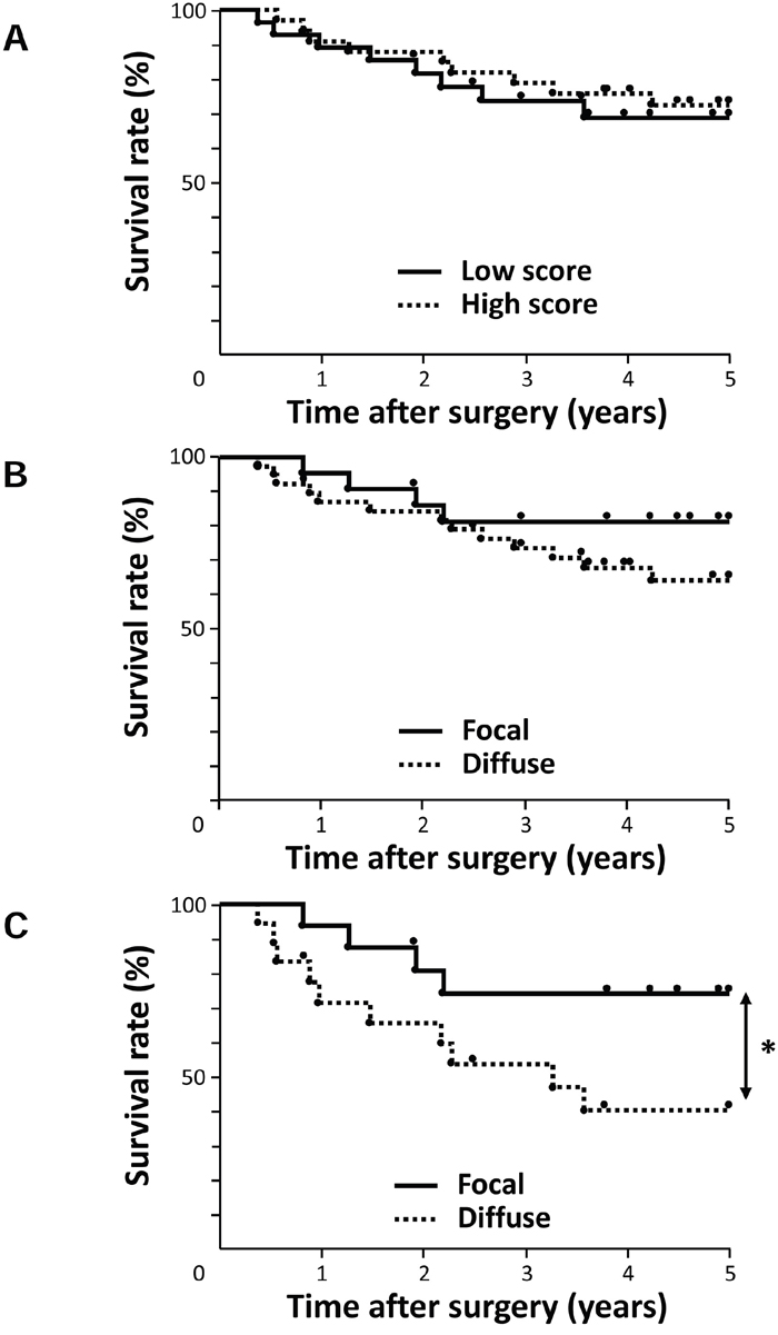 Survival curve of patients after curative resection for ESCC according to the expression of AE1.