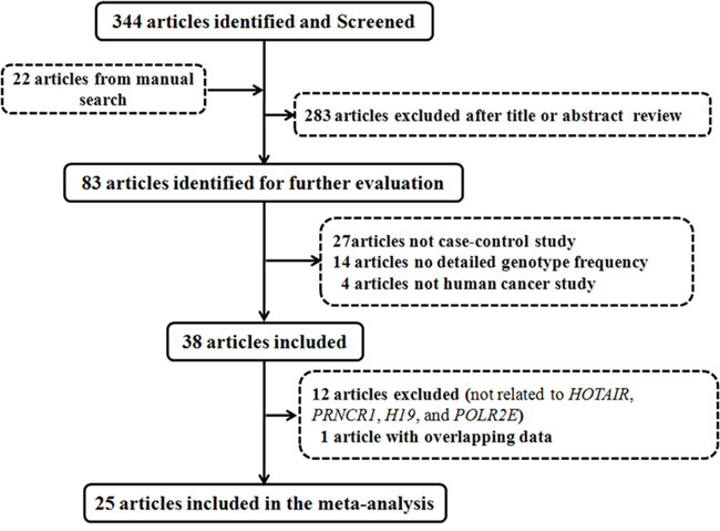 Flow diagram of articles identified with included and excluded criteria.