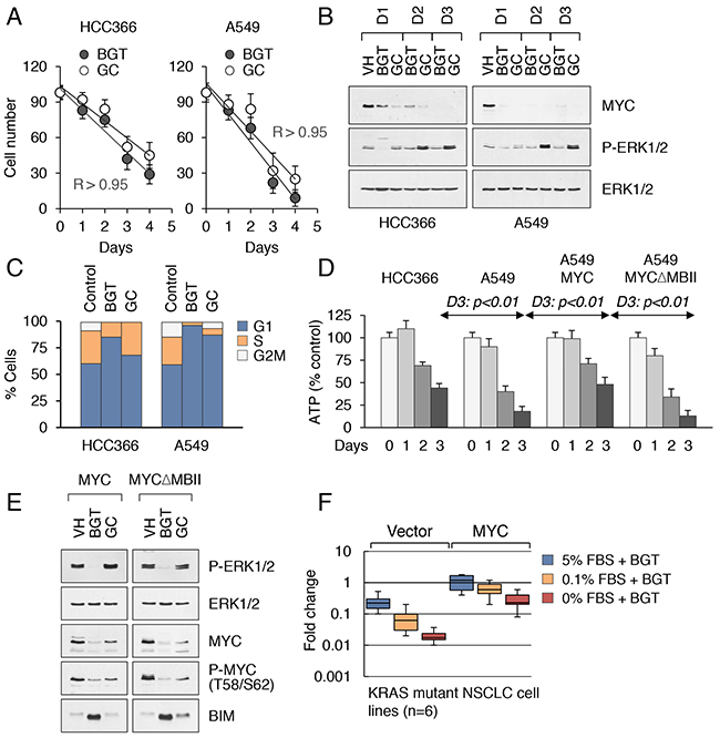 Drug-induced cytotoxicity of KRAS mutant cancer cells is contingent on MYC inhibition.