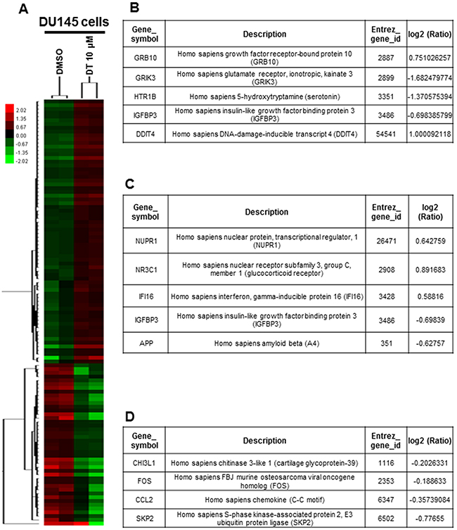 Effects of DT on the whole genomic mRNA expression of DU 145 cells.