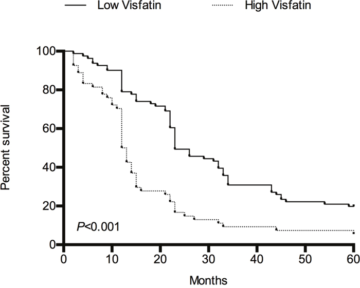 The overall survival of HCC patients stratified by serum visfatin levels during 5-year follow-up using Kaplan–Meier method.