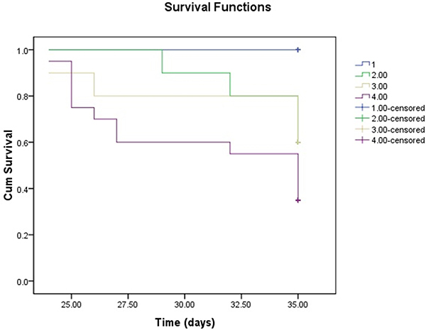 Kaplan-Meier survival analysis survival over the 35-day experiment was analyzed according to the daily recording of deaths by the standard Kaplan-Meier analysis with the log rank test.