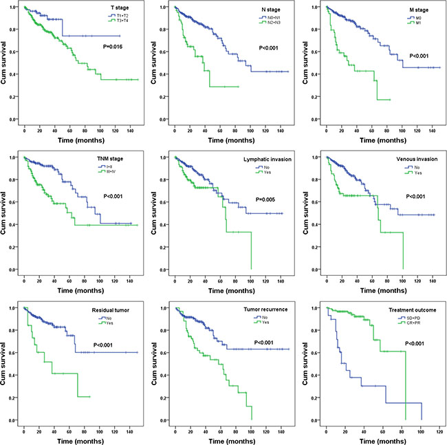 The prognostic value of different parameters for survival of COAD patients. Kaplan-Meier curves of nine independent prognostic indictors, including pathologic tumor stage, pathologic node stage, pathologic metastasis, pathologic stage, lymphatic invasion, venous invasion, residual tumor, tumor recurrence and treatment outcome.