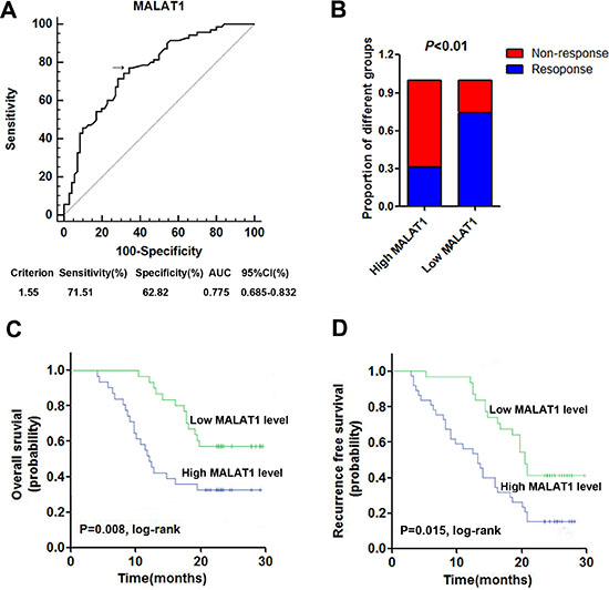 High serum MALAT1 expression was associated with poor response to TMZ treatment in GBM patients.