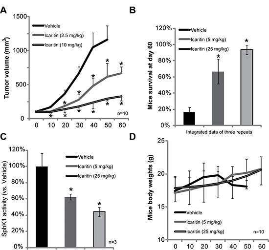 Icaritin inhibits HepG2 xenograft growth in mice.