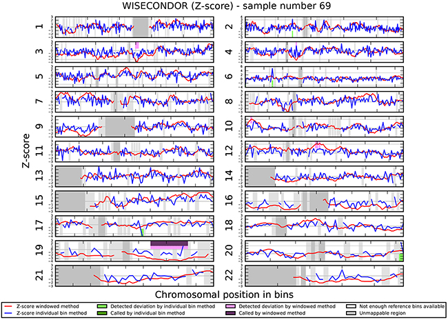 Chromosomal aberrations in cfDNA. No chromosomal aberrations were detected in sample 69.