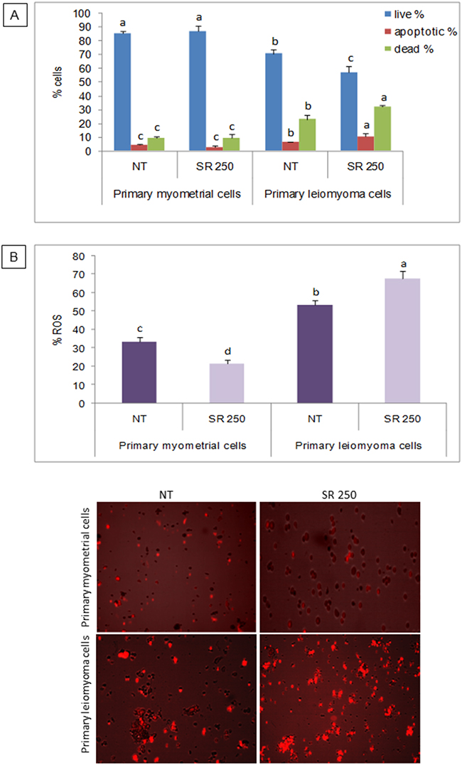 Effect of strawberry extract on induction of apoptosis and ROS in myometrial and leiomyoma cells.
