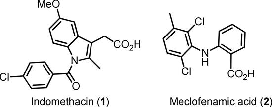 Scheme 1: Structures of indomethacin (1) and meclofenamic acid (2).