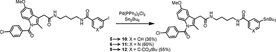 Scheme 4: Preparation of radioiodination precursors 10-12.