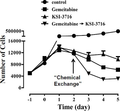 Sequential addition of gemcitabine and KSI-3716 enhance the anti-cancer potency. (A)