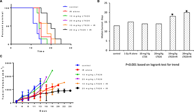 Overall survival and tumor volume after combination treatment in H460 xenograft model.