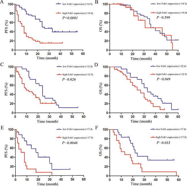 The association between prognosis and Folr1 expression in MB patients.
