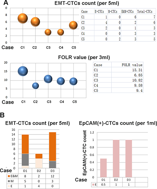 Detection of CTCs by using different methods.