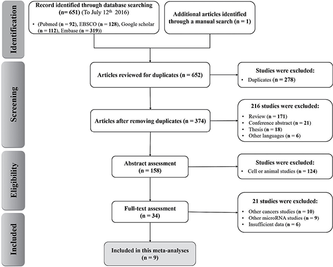 Flow chart of the study selection in the meta-analysis.