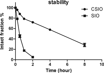 The stability results of CSIO and SIO peptide in cell culture medium.