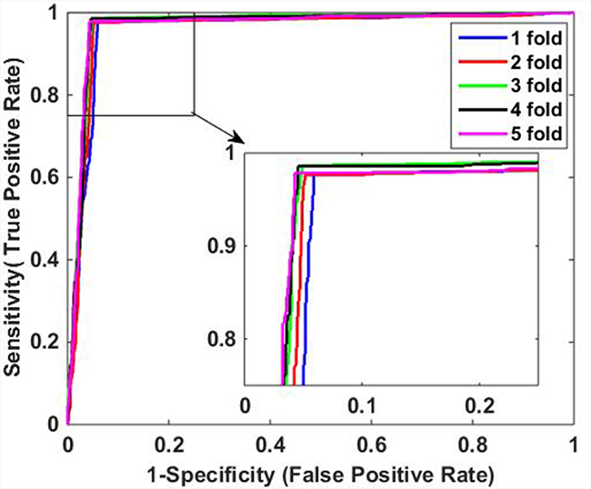 ROC curves of proposed method on Yeast data set.