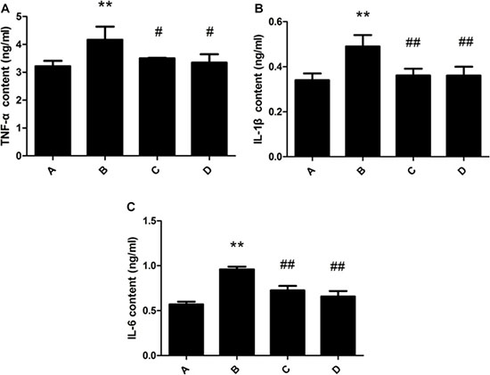 Effect of meloxicam on changes of liver TNF-α, IL-1β and IL-6 content in chronic Al-overload rats.