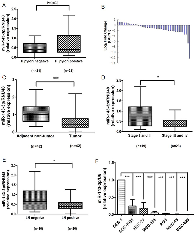 Down-regulation of miR-143-3p in gastric cancer tissues and gastric cancer cells.