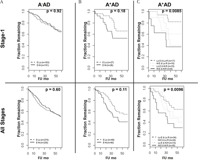 Overall survival of AD patients based on the ASCL1, RET, and EGFR status.