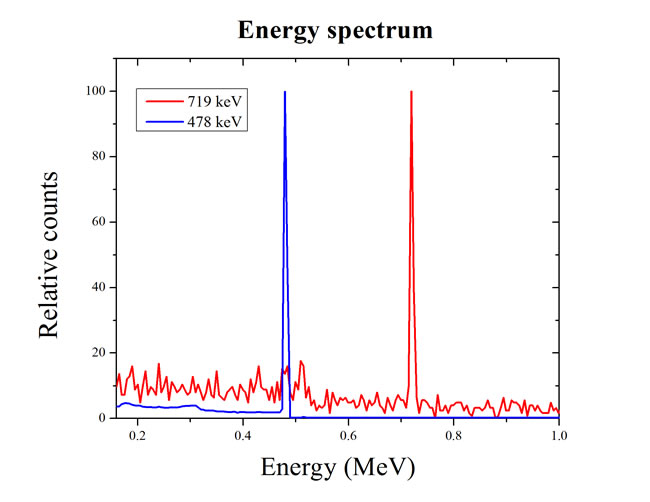 Energy spectra of prompt gamma ray generated by the nuclear reaction.