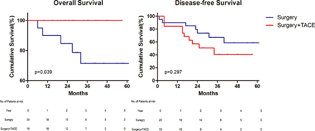 Survival for patients with preoperative alpha–fetoprotein ≥ 200 ng/mL.