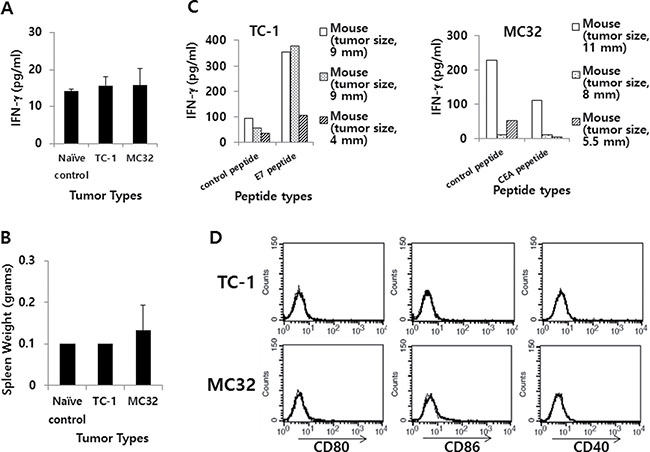 IFN-γ and the expression level of co-stimulatory molecules in TC-1 and MC32 tumor models.