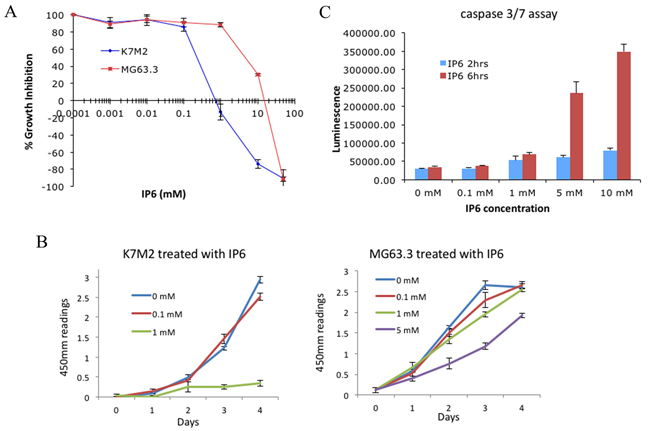 Effect of disrupting the inositol pathway with IP6 in highly metastatic OS cells in vitro.
