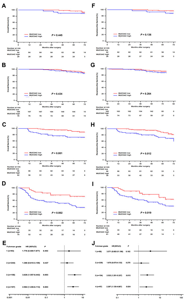 Subgroup analysis of MUC5AC prognostic value for ccRCC patients with different Fuhrman grades.