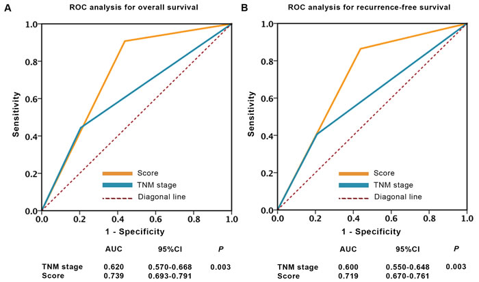 ROC analysis of clinical outcome prediction in patients with localized ccRCC.