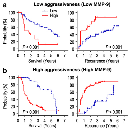 Overall survival and Recurrence-free survival are shown for patients with low tumor invasiveness