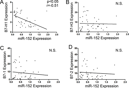 Correlation between miR-152 and mRNA expression levels of B7-1, B7-2, B7-H1 and B7-H3.