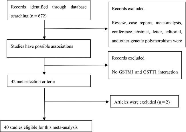 Flow diagram of selection process to identify eligible studies in the meta-analysis.