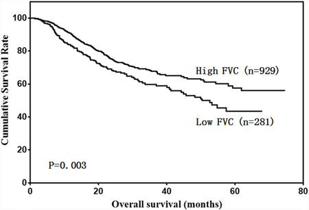 Patient overall survival according to FVC level.