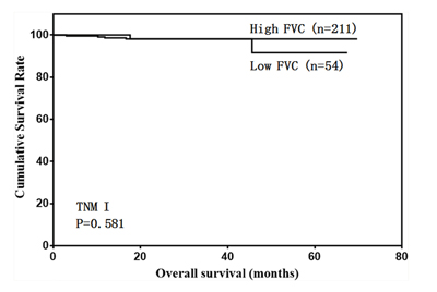 Overall survival of stage I patients according to FVC level.