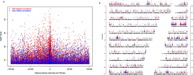 CpG sites whose DNA methylation levels were significantly correlated with gene expression with Bonferroni corrected P-value < 0.05.