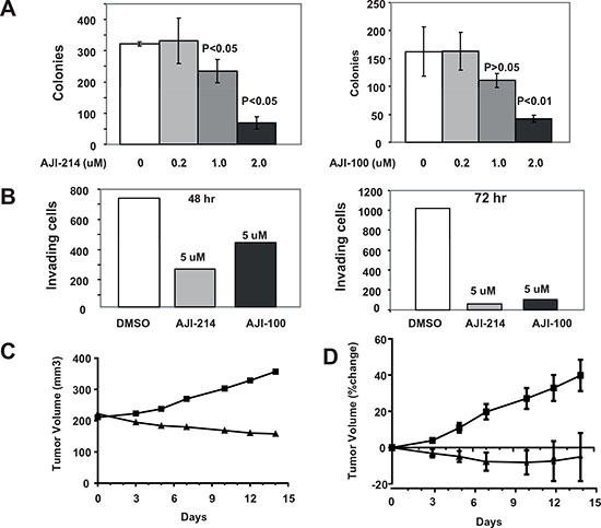 Figure 6. Aurora A and JAK2 dual inhibitors are highly effective at inhibiting anchorage-independent growth and invasion as well as in vivo tumor growth of MDA-MB-468 xenografts in nude mice.