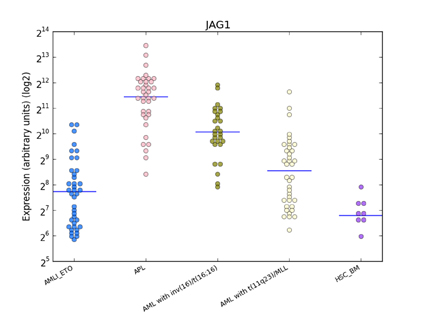 Distribution of JAG1 expression in human haematopoiesis and in AML based on the HemaExplorer platform.