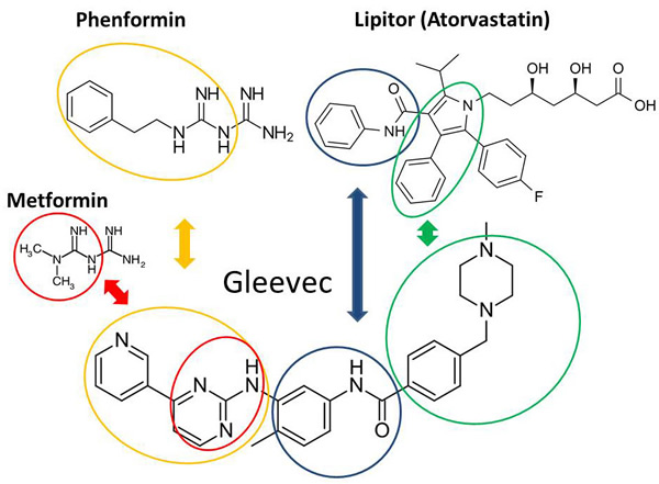 Structural homologies between Gleevec, Phenformin and Lipitor.