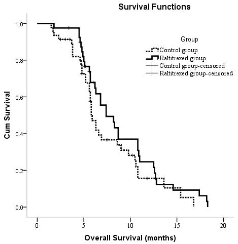 Kaplan-Meier curves of OS in patients with unresectable hepatocellular carcinoma who underwent TACE between two groups.
