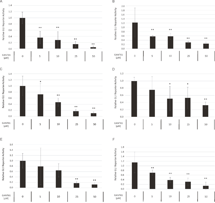 Dose-dependent reduction of GLI promoter activity upon GANT61 treatment.