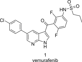 Chemical structure of vemurafenib.
