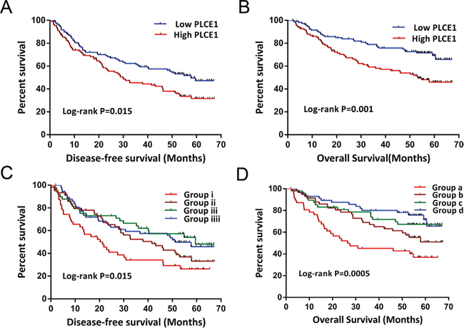 Kaplan-Meier survival curves of GSE14520 HBV-related HCC patient prognosis with different PLCE1 mRNA expression levels, and joint-effects analysis with different serum AFP levels.