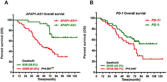 High expression of AFAP1-AS1 or PD-1 predicts poor prognosis.