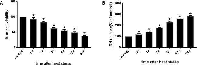 Effects of heat stress on cell viabilityand cytotoxicity in SW480 cells.